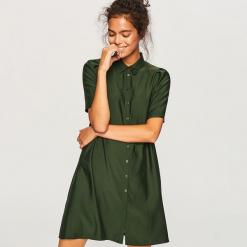 Koszulowa sukienka z lyocellem - Khaki. Brązowe sukienki z falbanami marki Reserved, z lyocellu, z koszulowym kołnierzykiem, koszulowe. Za 139,99 zł.