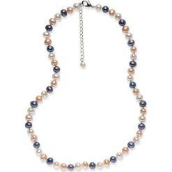 Naszyjniki damskie: Naszyjnik z pereł w kolorze biało-brzoskwiniowo-lawendowym – dł. 42 cm