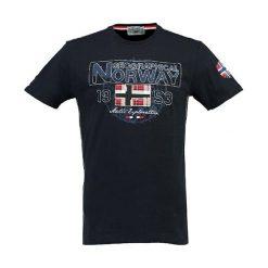 """Koszulka """"Jamelo"""" w kolorze granatowym. Niebieskie t-shirty chłopięce z nadrukiem Geographical Norway, m, z okrągłym kołnierzem. W wyprzedaży za 78,95 zł."""