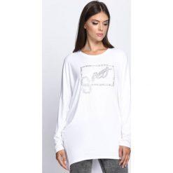 Biała Tunika Another Word. Białe tuniki damskie z długim rękawem Born2be, l, z napisami, z okrągłym kołnierzem. Za 39,99 zł.