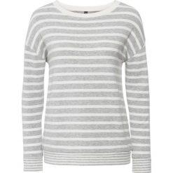 Swetry oversize damskie: Sweter dzianinowy bonprix jasnoszary melanż – biel wełny w paski