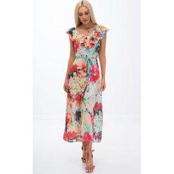 Sukienki: Kolorowa sukienka maxi / beż 21469