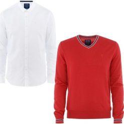 ZESTAW SWETER + KOSZULA. Białe koszule męskie na spinki Ochnik, m, z bawełny, z klasycznym kołnierzykiem. Za 259,90 zł.