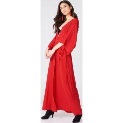 NA-KD Boho Sukienka-płaszcz - Red. Niebieskie sukienki boho marki NA-KD Boho, na imprezę, w koronkowe wzory, z koronki, na ramiączkach, mini. Za 100,95 zł.