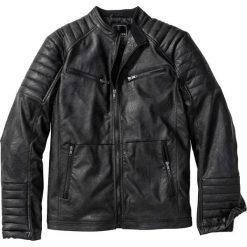 Kurtka ze sztucznej skóry bonprix czarny. Czarne kurtki męskie bomber bonprix, m, w prążki, z dzianiny. Za 239,99 zł.