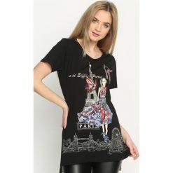 Bluzki asymetryczne: Czarny T-shirt Tower Of Love