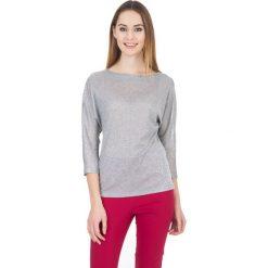 Bluzki asymetryczne: Dzianinowa srebrna bluzka z rękawem 3/4 BIALCON