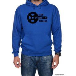 Bluza męska z kapturem kangur Maniac. Niebieskie bluzy męskie rozpinane Pakamera, m, z nadrukiem, z kapturem. Za 149,00 zł.