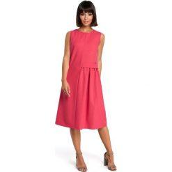 Sukienki hiszpanki: Zwiewna sukienka midi bez rękawów – różowa