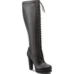 Kozaki GUESS - Ridge2 FLRI23 ELE11 BLACK. Czarne buty zimowe damskie Guess, z materiału, na obcasie. W wyprzedaży za 539,00 zł.