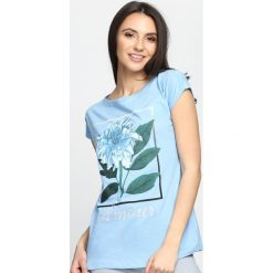 Niebieski T-shirt Grand Theft Autumn. Niebieskie bluzki damskie Born2be, l. Za 19,99 zł.