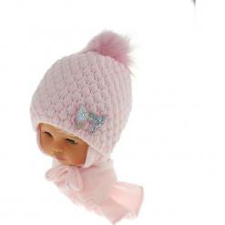 Czapka niemowlęca z szalikiem CZ+S 123B. Szare czapeczki niemowlęce Proman. Za 42,82 zł.