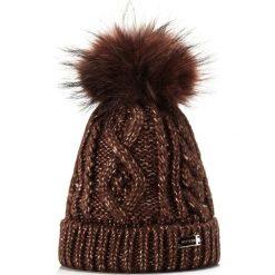 85-HF-018-4 Czapka damska. Brązowe czapki damskie Wittchen, na zimę, z dzianiny. Za 69,00 zł.