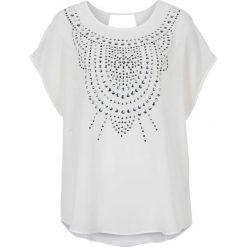 Bluzka ze sztrasami i ćwiekami bonprix biały. Białe bluzki oversize bonprix, z okrągłym kołnierzem. Za 44,99 zł.