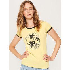 Bluzki, topy, tuniki: T-shirt z nadrukiem – Żółty