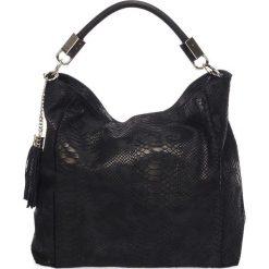 Shopper bag damskie: Skórzana torebka w kolorze czarnym – 38 x 36 x 15 cm