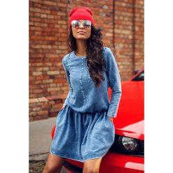 Jeansowa sukienka z kieszeniami jeans GABRIELE. Niebieskie długie sukienki marki numoco, na imprezę, s, w kwiaty, z jeansu, sportowe, sportowe. Za 165,90 zł.