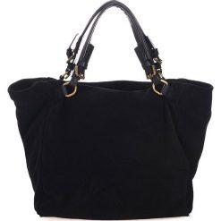 Shopper bag damskie: Skórzany shopper bag w kolorze czarnym - 45 x 50 x 20 cm