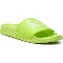 Klapki Reebok - Classic Slide DV4100  Neon Lime/White. Szare klapki damskie marki Reebok, l, z dzianiny, z okrągłym kołnierzem. Za 129,00 zł.