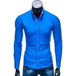 KOSZULA MĘSKA ELEGANCKA Z DŁUGIM RĘKAWEM K302 - JASNOGRANATOWA. Niebieskie koszule męskie na spinki Ombre Clothing, m, z bawełny, z kontrastowym kołnierzykiem, z długim rękawem. Za 59,00 zł.