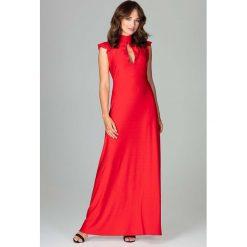 Czerwona Subtelna Długa Sukienka z Falbankami. Czerwone długie sukienki Molly.pl, na imprezę, l, w paski, z dekoltem na plecach, z długim rękawem, wyszczuplające. Za 159,90 zł.