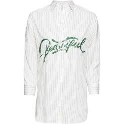 Bluzka w paski bonprix kremowo-czarny w paski. Białe bluzki z odkrytymi ramionami marki bonprix, w kropki, z wiskozy, biznesowe, z dekoltem w serek, moda ciążowa, z krótkim rękawem. Za 99,99 zł.