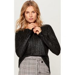 Sweter z warkoczowym splotem - Czarny. Czarne swetry klasyczne damskie marki Mohito, l, ze splotem. Za 119,99 zł.