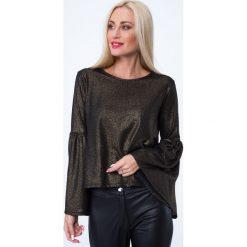 Bluzka z rozkloszowanymi rękawami złota MP16151. Czarne bluzki z odkrytymi ramionami marki Fasardi, m, z dresówki. Za 49,00 zł.