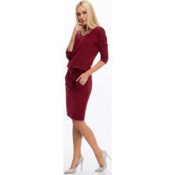 Bordowa Sukienka Wiązana w Talii 9729. Czerwone sukienki Fasardi, xxl, oversize. Za 59,00 zł.