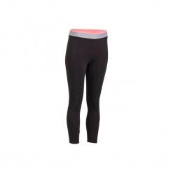 Legginsy fitness kardio 7/8 100 damskie. Czarne legginsy sportowe damskie marki DOMYOS, z elastanu. Za 54,99 zł.