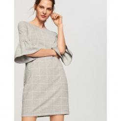 Sukienka z rękawami 3/4 - Szary. Szare sukienki z falbanami Reserved, m. Za 89,99 zł.