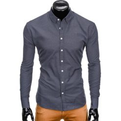 KOSZULA MĘSKA Z DŁUGIM RĘKAWEM K410 - CZARNA. Czarne koszule męskie na spinki Ombre Clothing, m, z kontrastowym kołnierzykiem, z długim rękawem. Za 49,00 zł.
