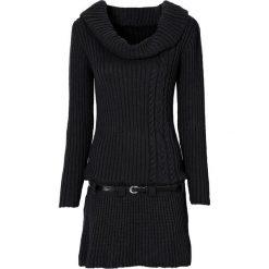 Sukienka dzianinowa z paskiem bonprix czarny. Czarne sukienki dzianinowe marki bonprix, na jesień, w paski, z golfem. Za 109,99 zł.