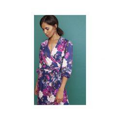 Asymetryczna, kopertowa sukienka, SUK161 kwiaty. Szare sukienki asymetryczne marki Lanti, w kwiaty, z asymetrycznym kołnierzem. Za 189,00 zł.
