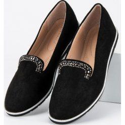 Mokasyny damskie: ANESIA PARIS czarne lordsy z kryształkami czarne