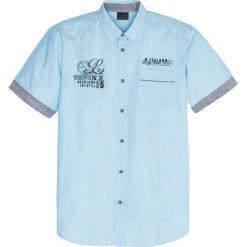 Koszula z krótkim rękawem bonprix turkusowy w paski. Niebieskie koszule męskie na spinki bonprix, m, w paski, z krótkim rękawem. Za 89,99 zł.