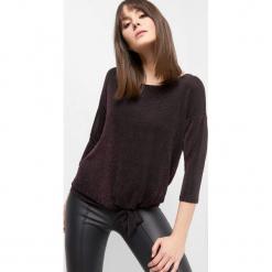 Koszulka z metaliczną nitką. Brązowe bluzki longsleeves marki Orsay, s, z dzianiny. Za 59,99 zł.