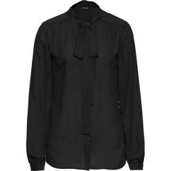 Bluzka z krawatką bonprix czarny. Czarne bluzki asymetryczne bonprix, eleganckie. Za 49,99 zł.