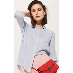 Koszule wiązane damskie: Koszula w prążki – Niebieski