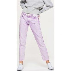 Spodnie damskie: Jeansy high waist - Fioletowy