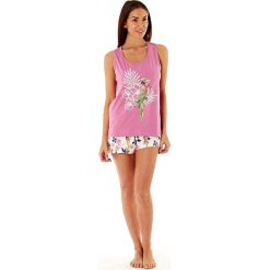 Piżamy damskie: Damska piżama bawełniana Parrot Pink krótka