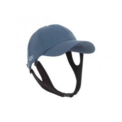 Czapka z daszkiem UV surfing. Niebieskie czapki z daszkiem damskie OLAIAN, w paski, z materiału. Za 39,99 zł.