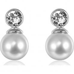 Kolczyki z kryształkami Swarovski i perłami w kolorze białym. Szare kolczyki damskie Biżuteria z kryształkami Swarovski, z kryształem. W wyprzedaży za 58,95 zł.