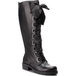 Kozaki EVA MINGE - Palafrugell 4L 18JS1372579EF 101. Czarne buty zimowe damskie Eva Minge, ze skóry, przed kolano, na wysokim obcasie, na obcasie. W wyprzedaży za 619,00 zł.