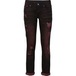 Dżinsy ze stretchem Slim bonprix czarno-czerwony denim. Czarne jeansy damskie bonprix, z denimu. Za 89,99 zł.