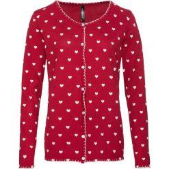 Kardigany damskie: Sweter rozpinany w ludowym stylu bonprix ciemnoczerwono-kremowobiały z nadrukiem