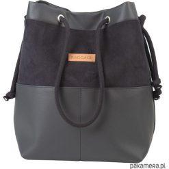 Torebka worek BAGGAGE shopper czarna eko skóra. Czarne torebki worki Pakamera, ze skóry, zamszowe. Za 129,00 zł.