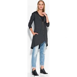 Asymetryczna Grafitowa Długa Bluza z Kapturem. Czarne bluzy rozpinane damskie marki bonprix, z dresówki, z kapturem, z długim rękawem, długie, maxi. Za 93,90 zł.