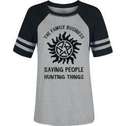 Supernatural Family Koszulka damska odcienie szarego/czarny. Czarne bluzki z odkrytymi ramionami Supernatural, s, z nadrukiem, z okrągłym kołnierzem. Za 99,90 zł.
