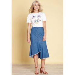 Koszulka z okrągłym wycięciem szyi, nadrukiem i krótkim rękawem. Szare bluzki z odkrytymi ramionami marki La Redoute Collections, m, z bawełny, z kapturem. Za 161,66 zł.